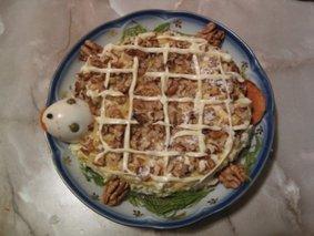 Теплый салат из печени и моркови