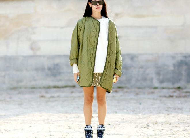 Модні куртки весни 2016: колір хакі (street style)