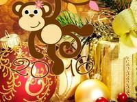 Прикольные открытки к Новому году обезьяны 2016
