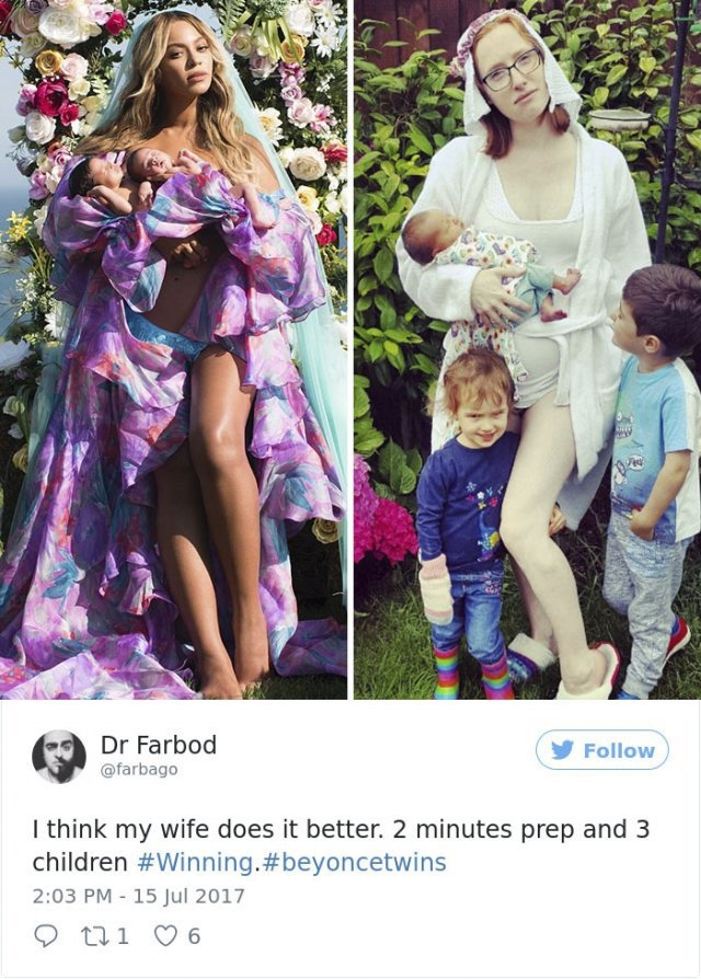 Забавные пародии от родителей на снимок Бейонсе с новородженными