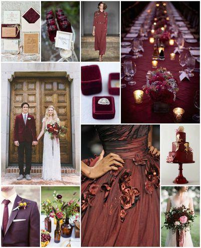 Самые модные цвета для свадьбы: марсала