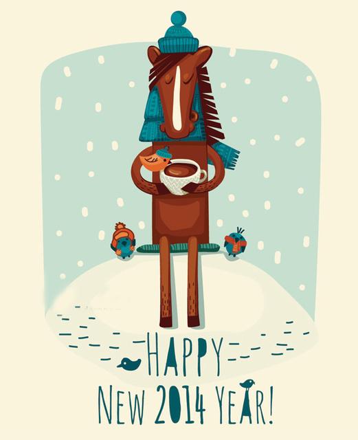 Прикольная открытки на год Лошади