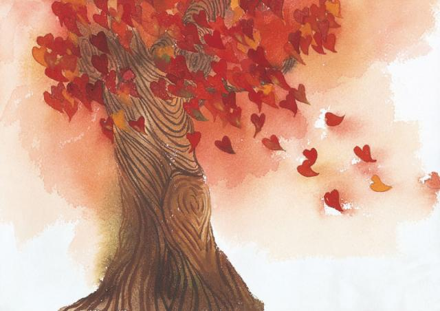 Осенняя открытка про любовь