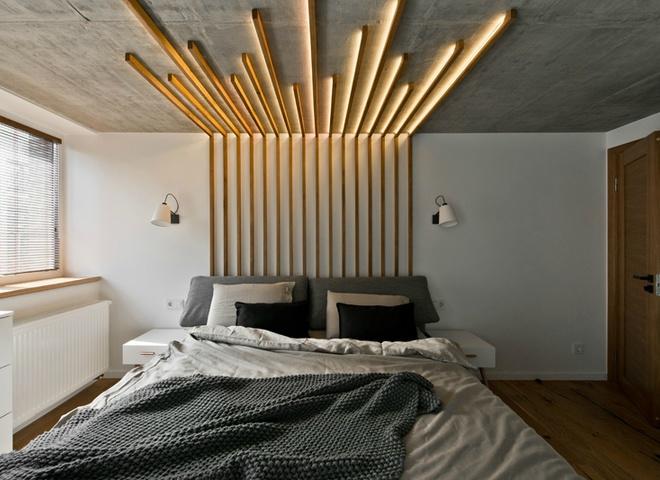 Декор из брусьев в спальне