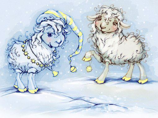 Детская открытка с овечками 2015