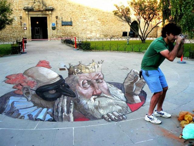 3d рисунки на асфальте: Эдуардо Ролеро
