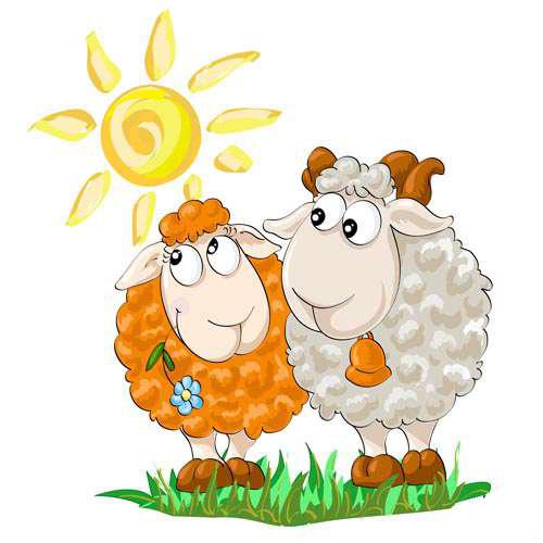 Милая открытка с овечками 2015