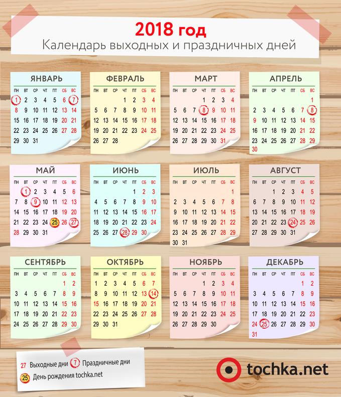 Календарь праздников и выходных на 2018 год в Украине