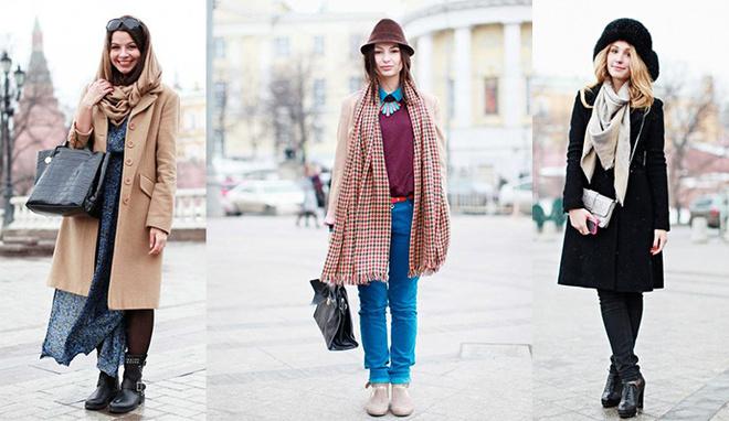 Як носити об'ємний шарф: street-style приклади