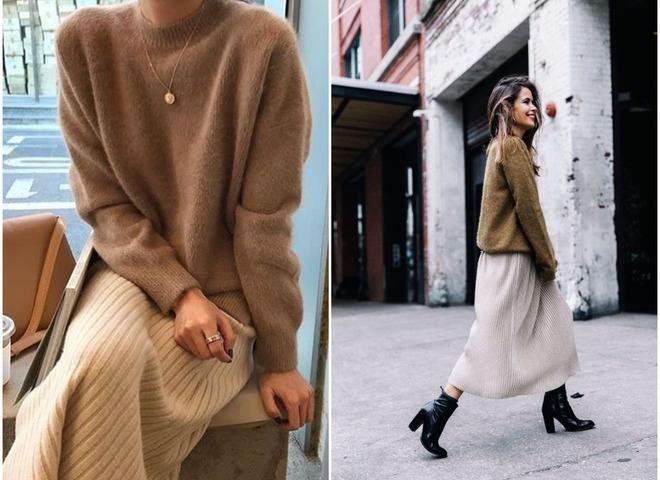 80e1f43a73f С чем носить длинную юбку зимой  10 модных идей на каждый день ...