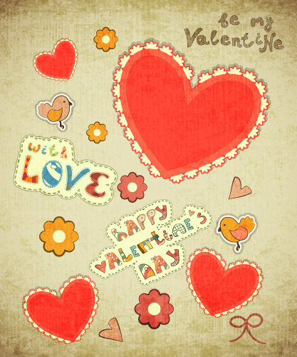 Ретро открытка с Днем Святого Валентина