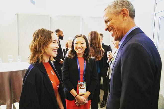 Эмилия Кларк и Барак Обама