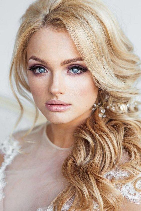 Свадебный макияж: голубые глаза