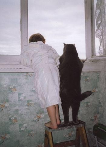 Кот Бегемот и малыш в ожидании вкусняшек