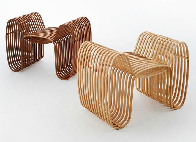 Новинки мебели: бамбуковый табурет из трех петель