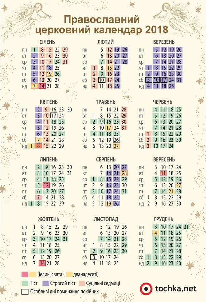 Календари 2018: скачать производственный (рабочий), церковный, календарные сетки