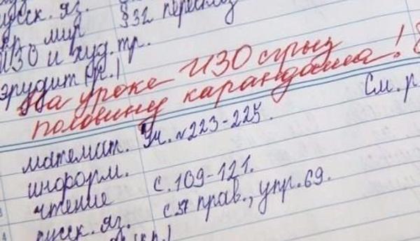 Записки в школьных дневниках