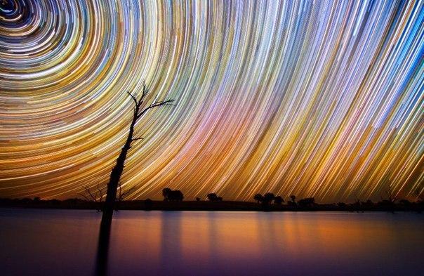 Завораживающее движение звезд по ночному небу