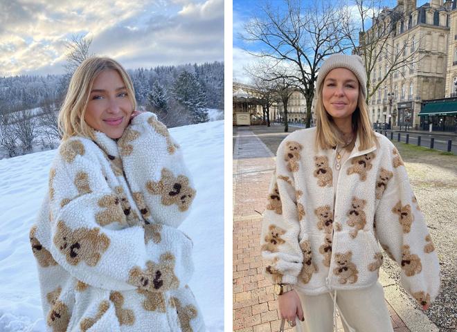 Инфлюенсеры носят новую трендовую куртку и изображением мишки Тедди: где ее искать