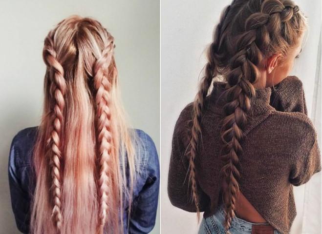 Прическа две косички