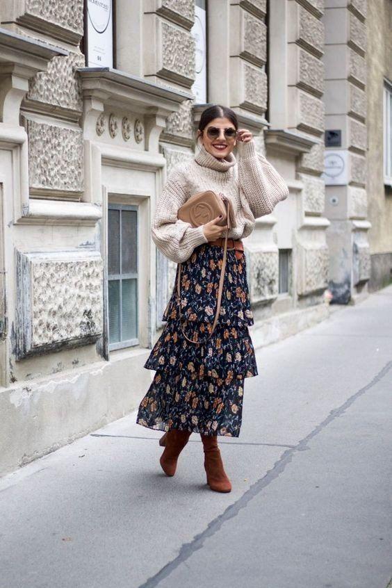 Утепление и женственность: ТОП-10 способов, как носить свитер с платьем