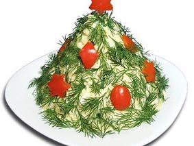 Салат из плавленых сырков (Новогодний)
