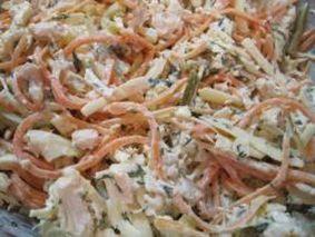 Салат из корейской моркови и отварной куриной грудки