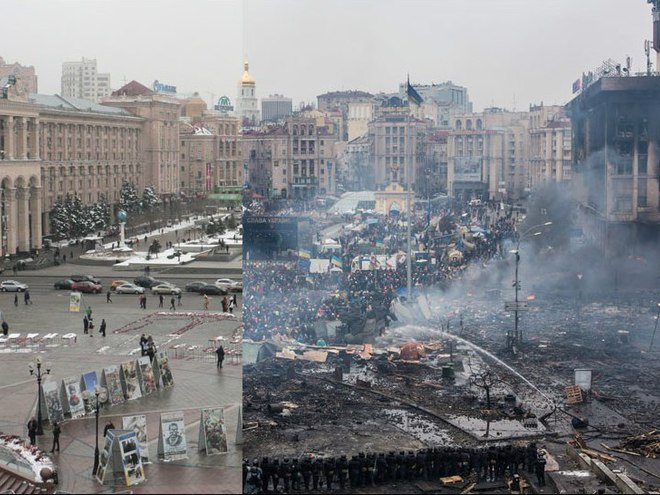 Киев год назад и сегодня