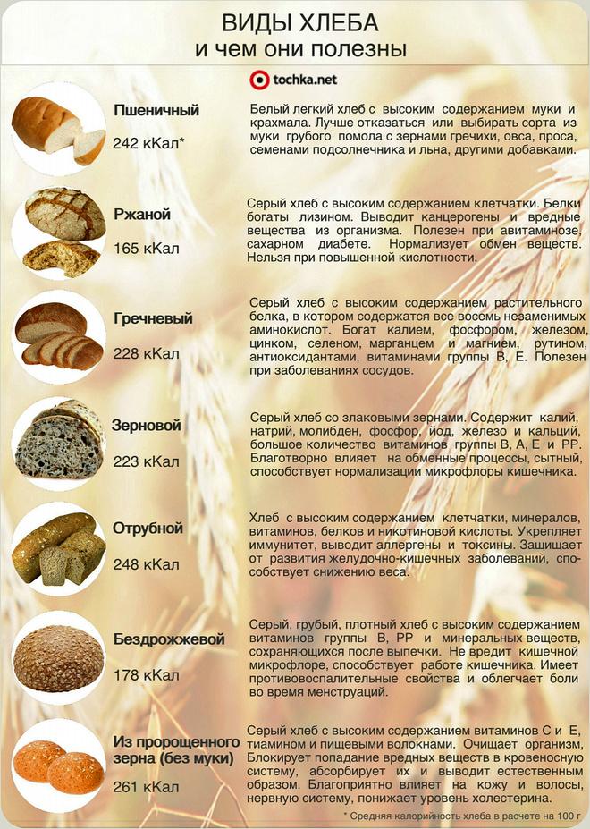 виды хлеба инфографика