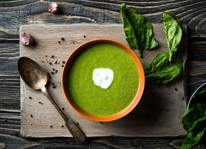 Суп из шпината со сливками