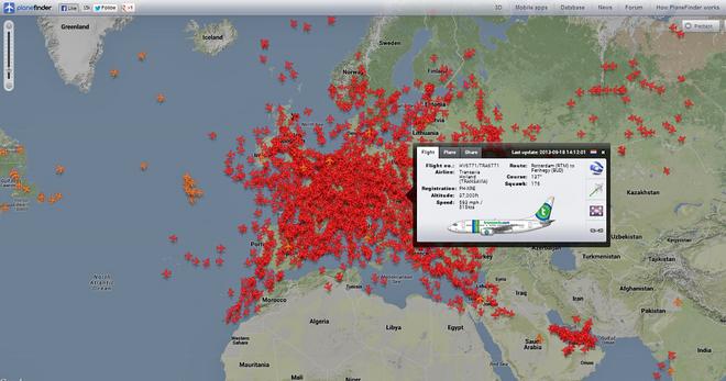Небо онлайн. Plane Finder
