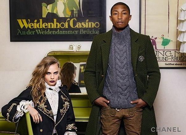 Кара Делевинь и Фаррелл Уильямс в рекламной кампании Chanel
