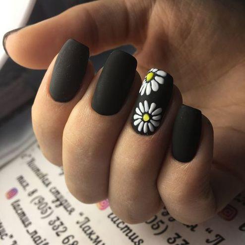 Матовый маникюр: цветочный принт