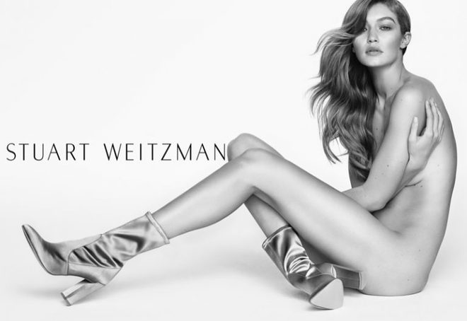 Обнаженная Джиджи Хадид снялась в рекламе обуви