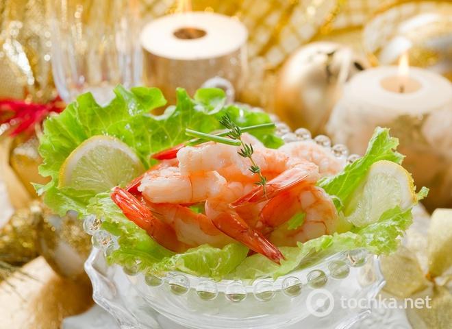 Салаты на Новый год, морепродукты