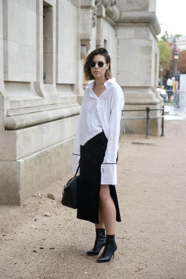 Как и с чем носить белую женскую рубашку (фото)