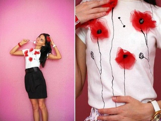 Как украсить однотонную футболку своими руками 670