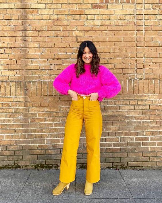 Желтые джинсы на осень 2020