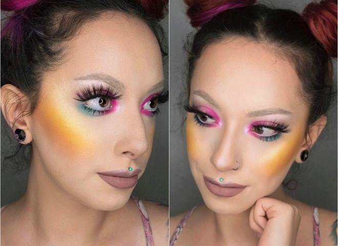 Желтые румяна в макияже