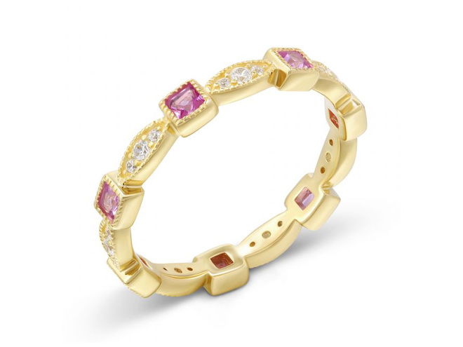 Серебряное кольцо из желтого родия ZARINA