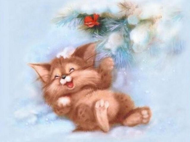 Няшная котейная открытка на Новый год