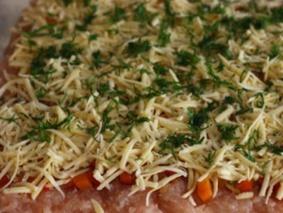 Куриное филе с овощами и сыром в духовке
