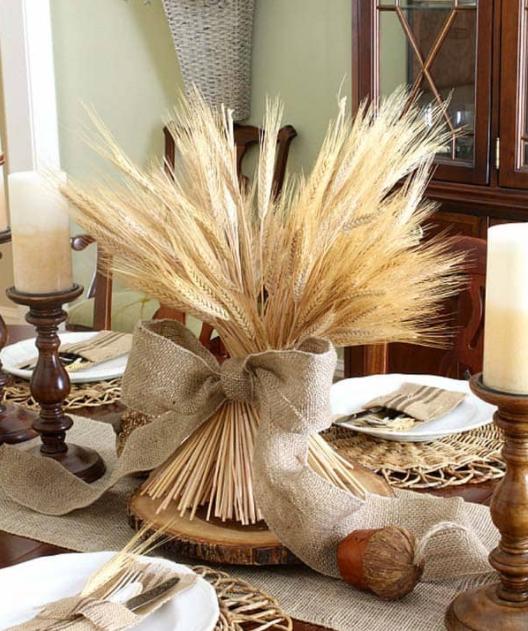 Осенний декор из колосков