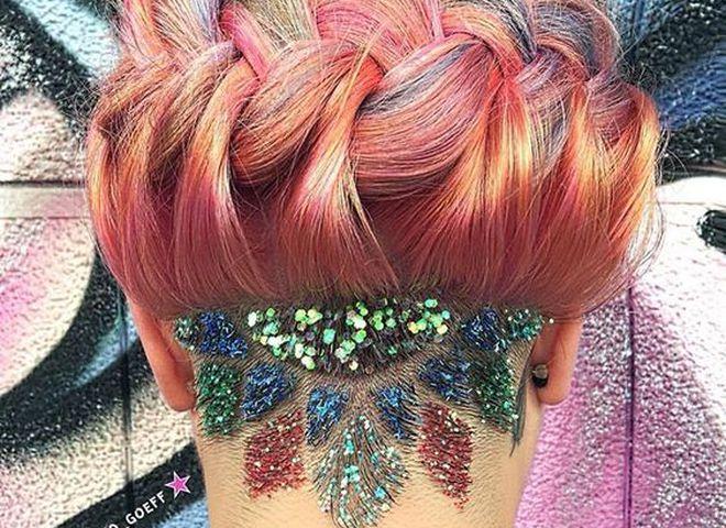 Блестки в волосах