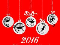 Открытки с годом обезьяны 2016