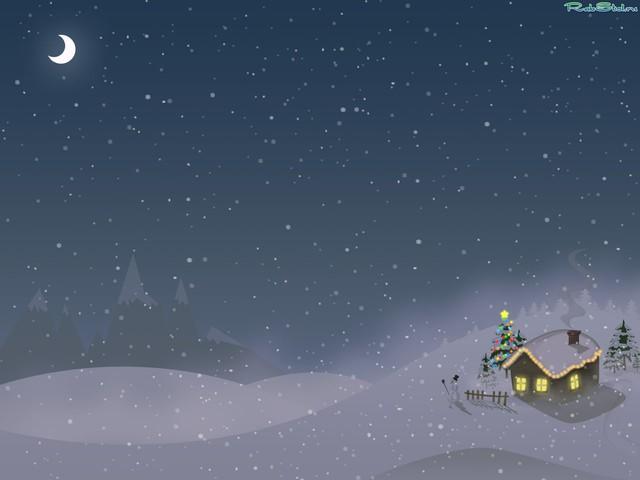 Красивая снежная открытка на Новый год
