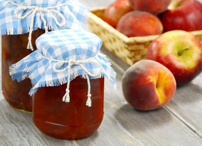 Персиковое варенье с яблоками