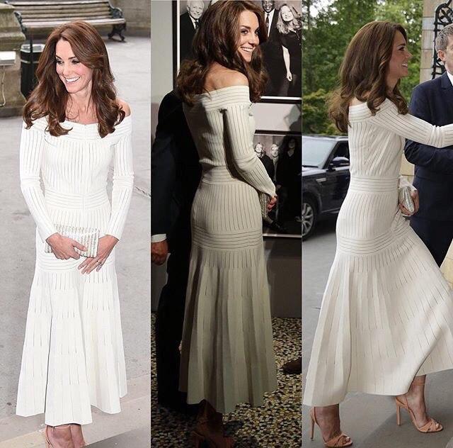 Как носить платье с открытыми плечами: урок от Кейт Миддлтон
