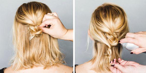 Стильная прическа для волос средней длины