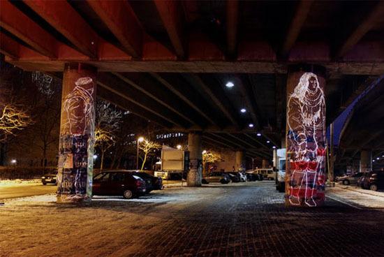 Завораживающие световые инсталляции на стенах